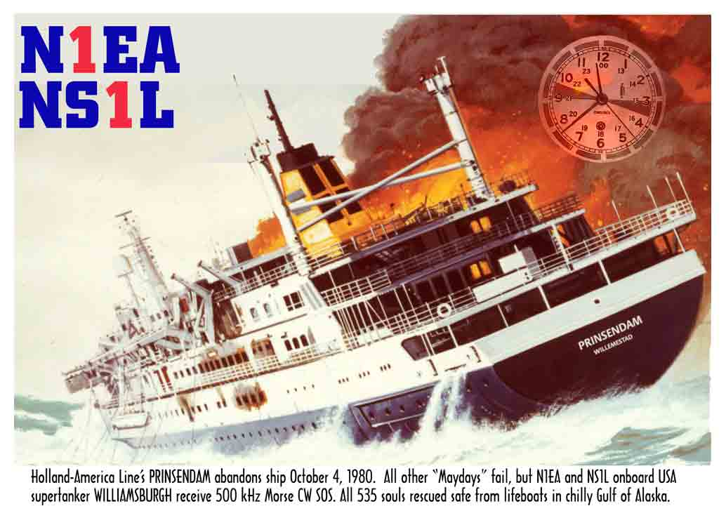 Image of QSL card with burning ship ms Prinsendam