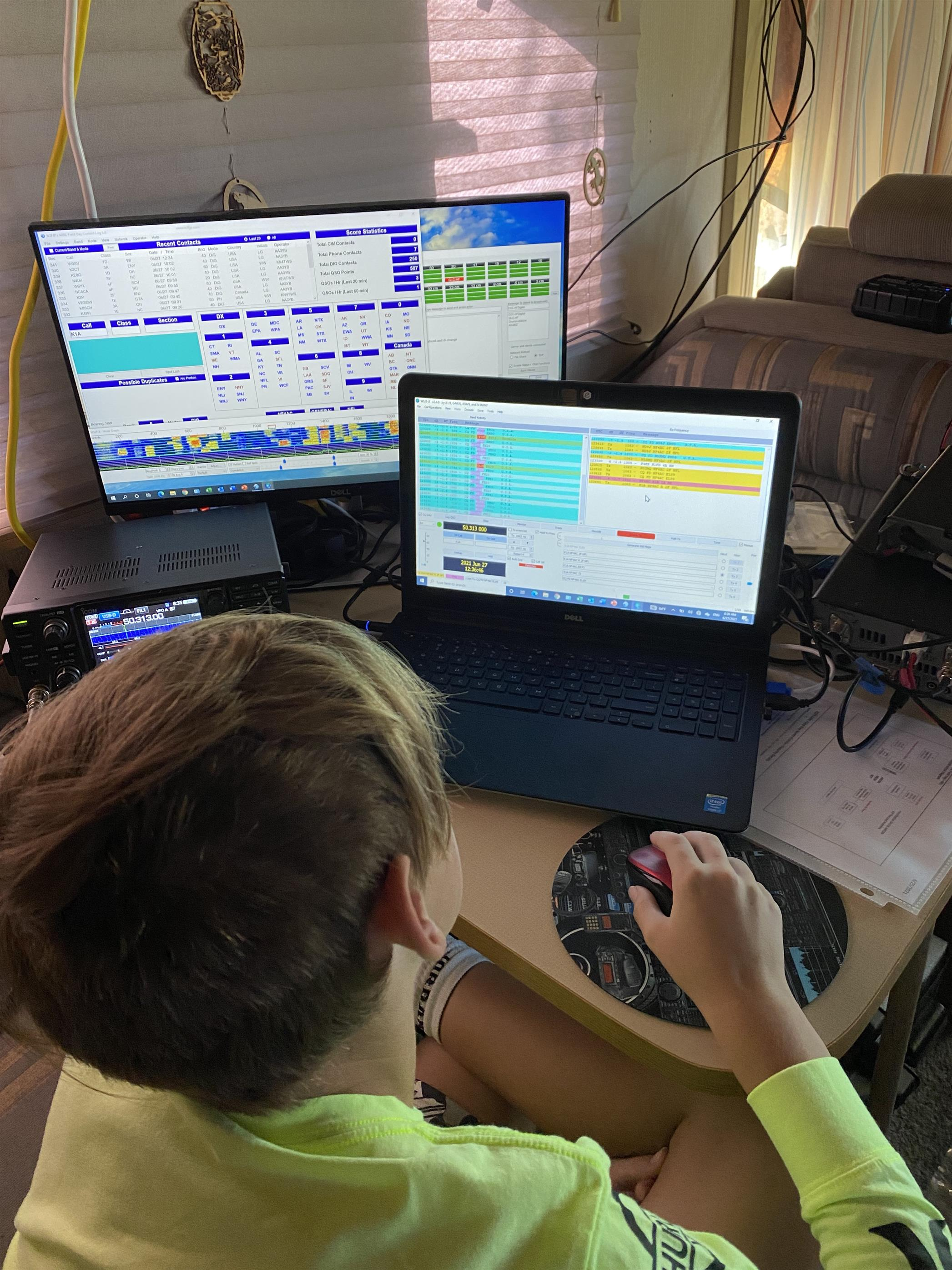 Hoyt, age 11, working stations on 50 MHz